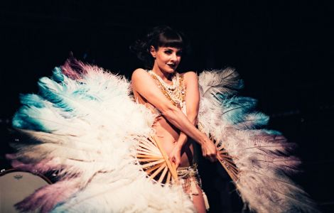 a flapper girl dancer feathers