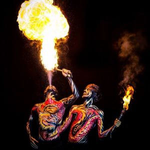 bodypainted fire performer