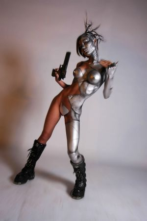 bodypainted girl futuristic theme