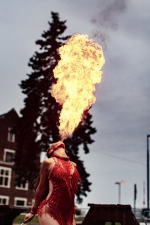 fire breathing girl