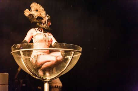 giant martini glass performer