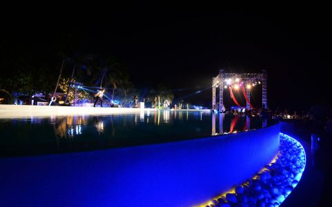 Maldives Night Time Pool Party Stunning
