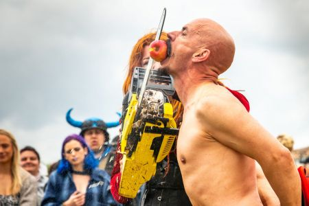 performer with chainsaw