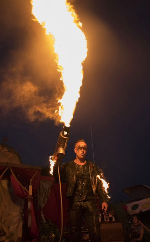 performer with flamethrower