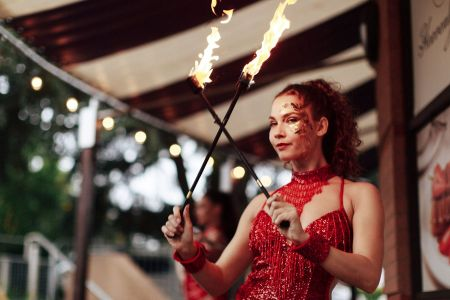showgirl fire dancer
